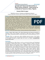 Home Background and Classroom Interaction as Correlates of Basic Science Students' Achievement in Upper Basic Schools in Nasarawa State, Nigeria
