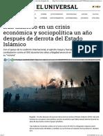 Irak Inmerso en Un Crisis Económica y Sociopolítica Un Año Después de Derrota Del Estado Islámico