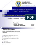 Current Developments in Testing Irt