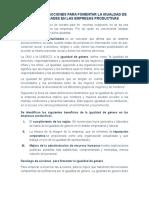 Decalogo de Acciones Para Fomentar La Igualdad de Oportunidades en Las Empresas Productivas