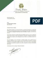 Carta de felicitación del presidente Danilo Medina a Rafael Antonio Lantigua por recibir el Premio al Emigrante Dominicano Oscar de la Renta
