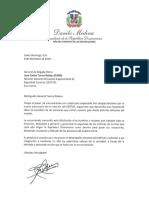 Carta de felicitación del presidente Danilo Medina a Juan Carlos Torres Robiou por aniversario del Cuerpo Especializado de Seguridad Turística (CESTUR)