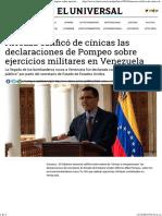 Arreaza Calificó de Cínicas Las Declaraciones de Pompeo Sobre Ejercicios Militares en Venezuela
