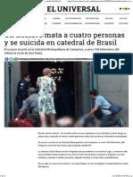 Un Hombre Mata a Cuatro Personas y Se Suicida en Catedral de Brasil