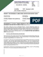 Stormy Daniels v Trump - Order Awarding Trump Attorney Fees