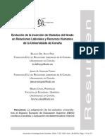 Evolucion Insercion Titulados Grado RRLL RRHH Coruña