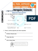 Ficha de Signos de Interrogacion y Exclamacion Para Segundo de Primaria