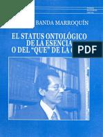 """El status ontológico de la esencia o del """"qué"""" de la cosa"""