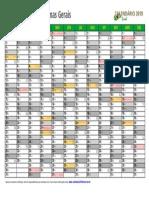 Calendario 2019 Minas Gerais