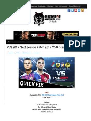 PES 2017 Next Season Patch 2019 V5 0 Quick Fix | Association