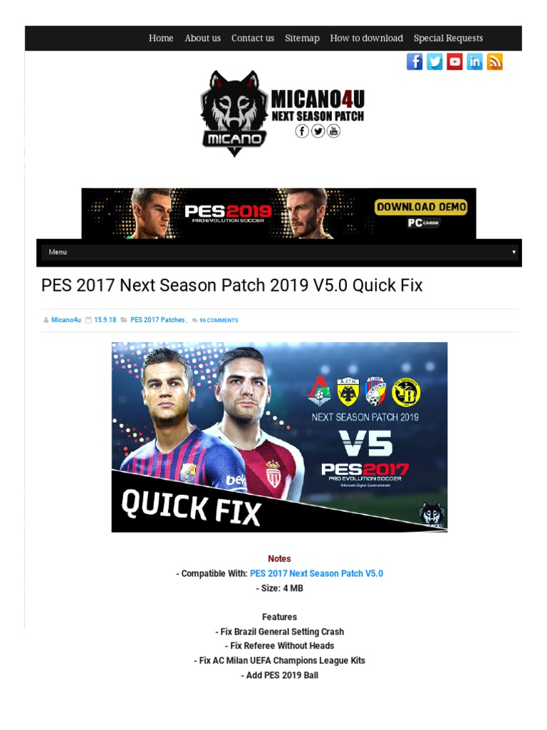PES 2017 Next Season Patch 2019 V5 0 Quick Fix   Association