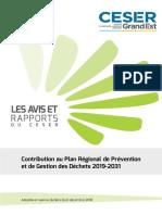 Contribution Au Plan Regional de Prevention Et de Gestion Des Dechets 2019-2031