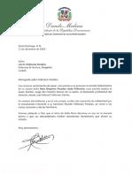 Carta de condolencias del presidente Danilo Medina a Luis R. Pellerano Paradas por fallecimiento de su madre, Nora Deyanira Paradas viuda Pellerano