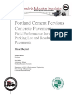 Long Term Field Performance of Pervious Final Report