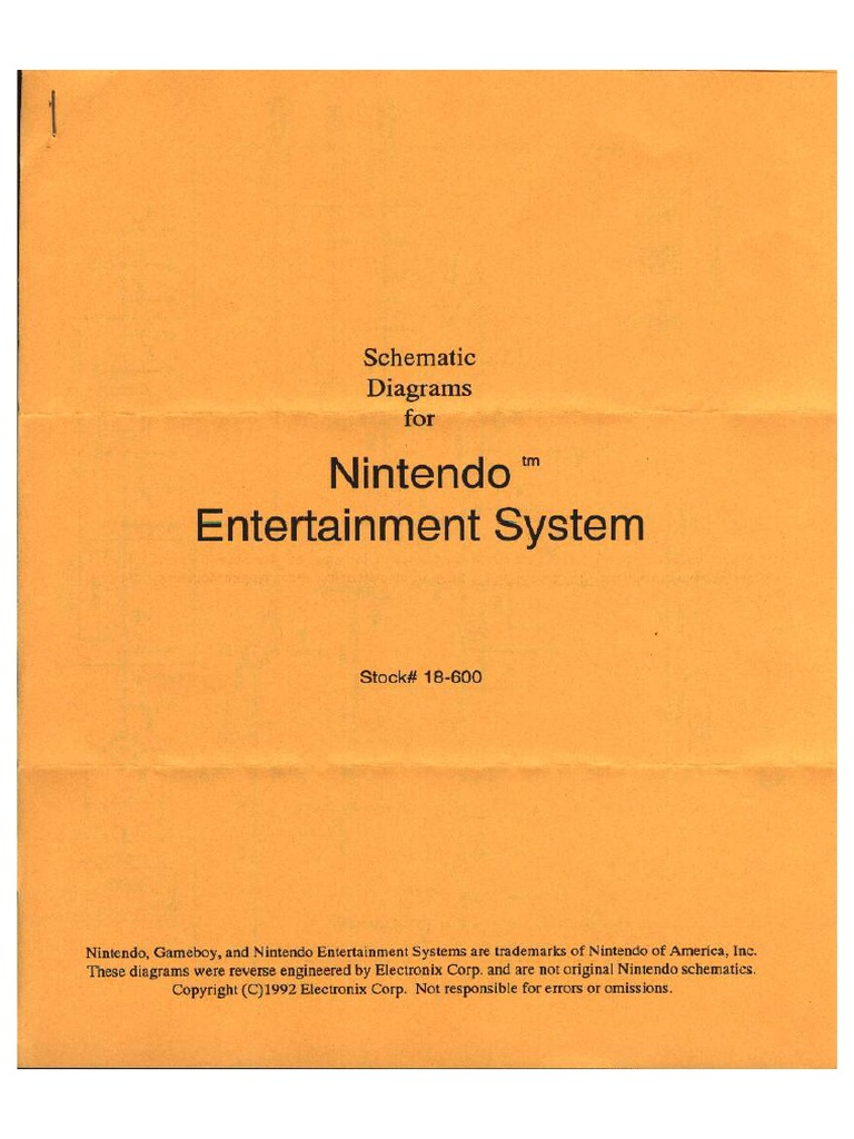 Schematic Diagrams for NES on
