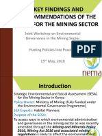Key Findings and Recommendations from the Strategic Environmental and Social Assessment for the Mining Sector in Kenya