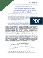 La Tasa de Profesionales a Tiempo Parcial en España Registra La Cifra Más Baja de Los Últimos Siete Años y Se Sitúa en El 139