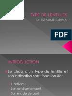 Type de Lentilles
