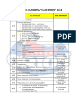 Programa Clausura Orion 2018