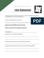 personal puzzle artist statement worksheet