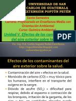 Unidad v. Efectos de Los Contaminantes Del Aire Exterior Sobre La Salud.