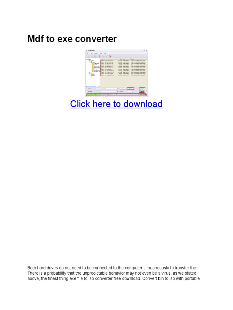 Mdf to exe converter pdf | Datos informáticos | Informática