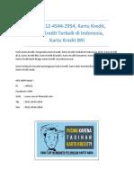 T-sel 0812-4544-2954, Kartu Kredit, Kartu Kredit Terbaik di Indonesia, Kartu Kredit BRI