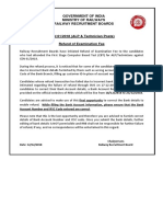 RRB Notice Refund of Exam Fee