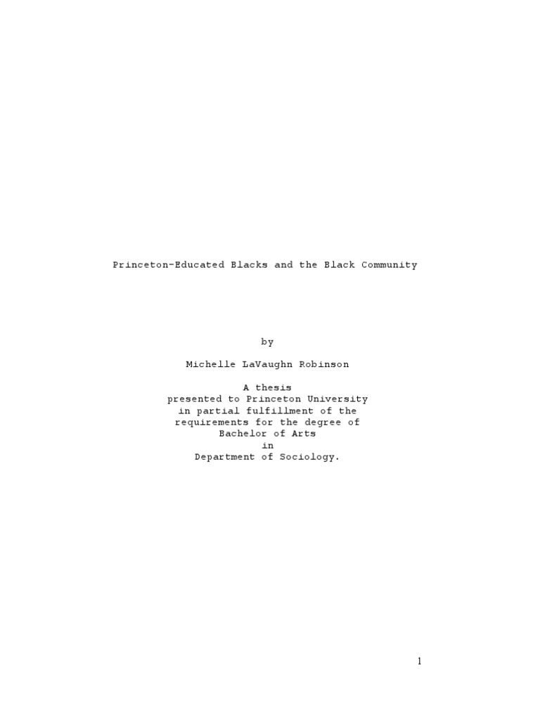 Michelle lavaughn robinson princeton thesis analyst resume entry level