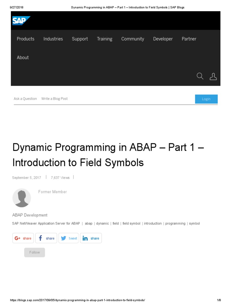 Dynamic Programming in ABAP – Part 1 – Introduction to Field Symbols