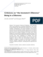 """Criticisms on """"the Innovator's Dilemma"""" Being in a Dilemma"""