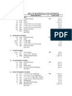 Sample Bill of Materials for Construction
