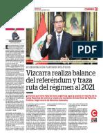 Vizcarra Realiza Balance Del Referéndum y Traza Ruta Del Régimen Al 2021