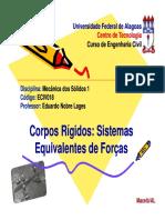 5 - Corpos Rigidos - Sistemas Equivalentes de Forcas.pdf