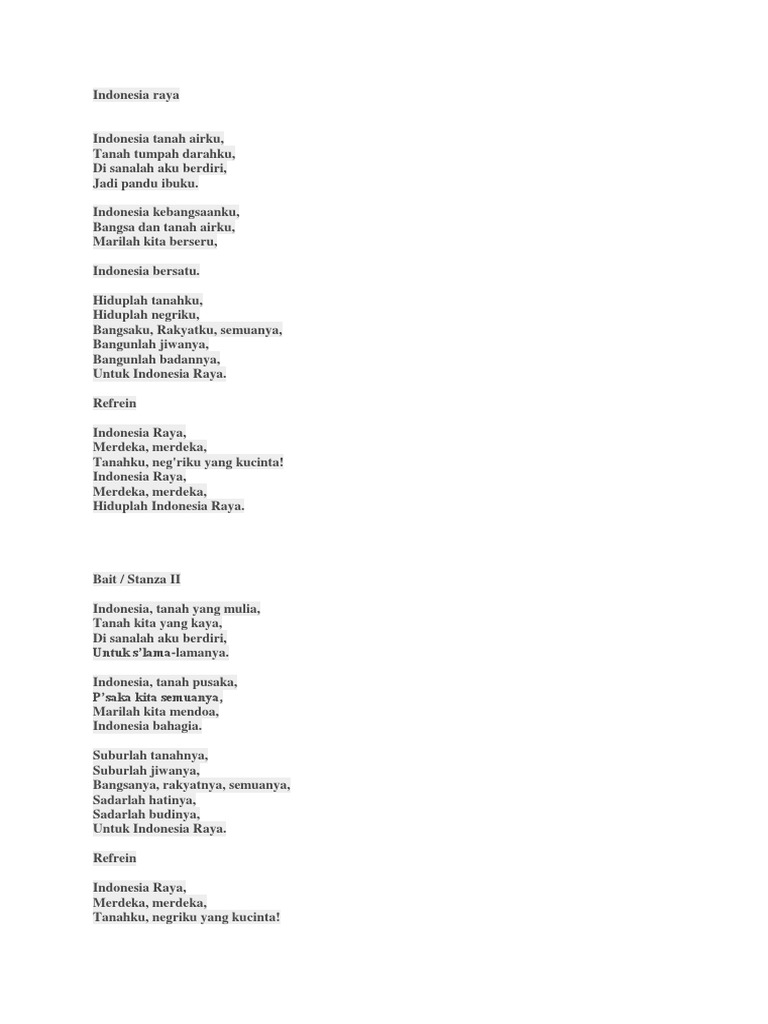 Lirik Lagu Indonesia Raya 3 Stanja