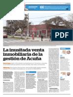 """Finalista de la categoría Reportaje Regional 2018 - """"La inusitada venta inmobiliaria de la gestión de Acuña"""""""