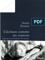 Ecriture Comme Un Couteau, L' - Annie Ernaux
