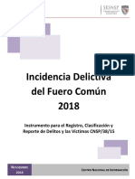 Incidencia Delictiva del Fuero Común en México 2018 (preliminar)