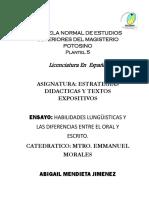 Ensayo Habilidades Lingüisticas
