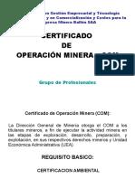 Certificado de Operacion Minera COM