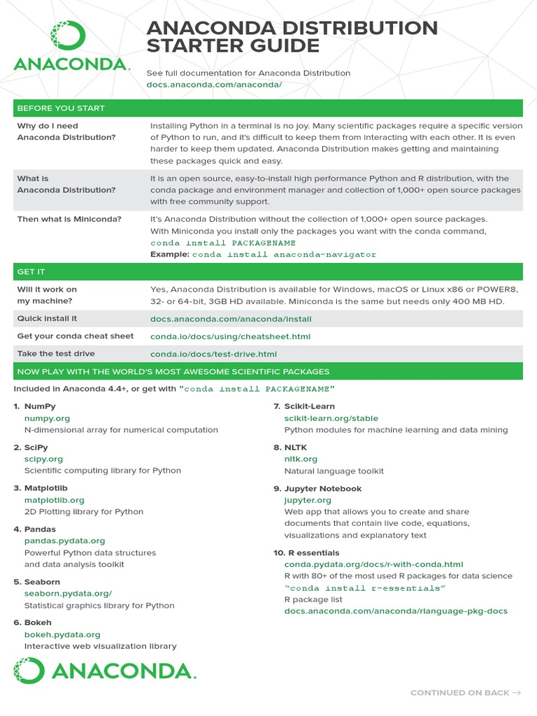 Anaconda Starter Guide Cheat Sheet Web pdf | Python (Programming