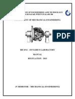 Dynamics Lab Manual - ME6511