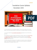 ICAI CA Foundation Course Syllabus November 2018