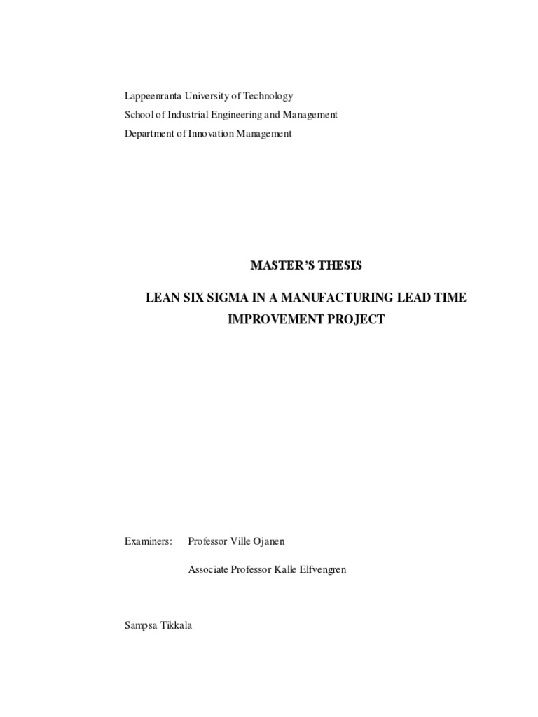 Phd thesis on six sigma