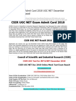 CSIR UGC NET Admit Card 2018 UGC NET December Exam Date Released