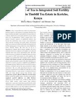Yield Response of Tea to Integrated Soil Fertility Management in Timbilil Tea Estate in Kericho, Kenya