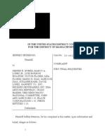 2018 12 14 Complaint Peterson v Burke United States Court District of Massachusetts