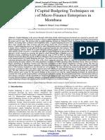 Capital Budgeting Technique in Microbusiness Mombassa