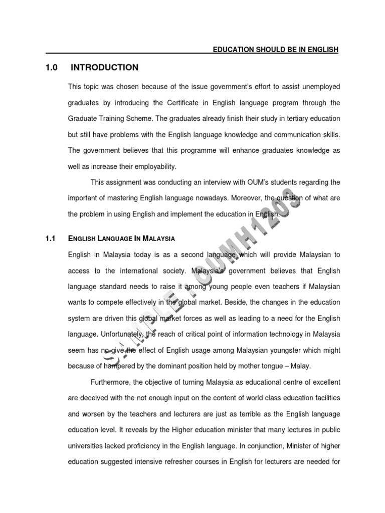 Oumh1203 Sample Assignment English As A Second Or Foreign Language Malaysia