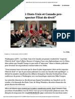 """Affaire Huawei- Etats-Unis Et Canada Promettent de """"Respecter l'Etat de Droit"""""""
